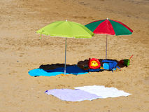 Sunshade parasol on a Tropical  beach Royalty Free Stock Image