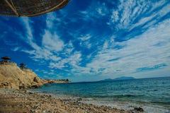 Sunshade plażowy czerwony morze Obraz Stock