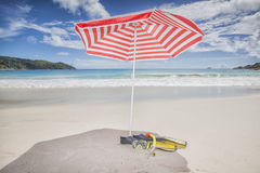 Sunshade with snorkeling equipment Royalty Free Stock Photo