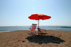 Sunshade and sunlounger Royalty Free Stock Photo