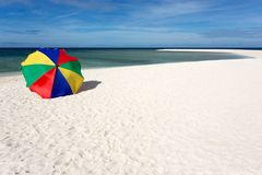 Sunshade on tropical white beach Royalty Free Stock Images