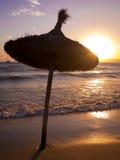 Sunshades στο ηλιοβασίλεμα Στοκ εικόνα με δικαίωμα ελεύθερης χρήσης