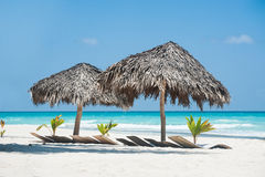 Sunshades στο νησί Saona Στοκ Εικόνα