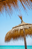 Sunshades on the beach Royalty Free Stock Images