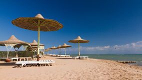 Sunshades on the beach of El Gouna Stock Photography