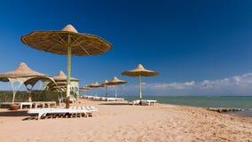 Sunshades on the beach of El Gouna Stock Photography