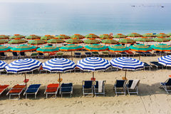 Sunshades on the beach of Monterosso, Cinque Terre, Italy Royalty Free Stock Image