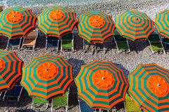 Sunshades at the beach of Monterosso, Cinque Terre, Italy Stock Photos