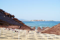 Sunshades on beach Royalty Free Stock Photos