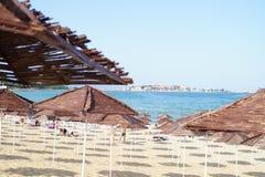 Sunshades on beach stock image