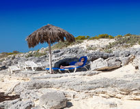 Sunshades on Cayo Largo's island, Cuba Royalty Free Stock Photo