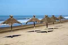 Sunshades at an empty beach Royalty Free Stock Image