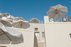 Sunshades in Greece - Santorini Royalty Free Stock Photo