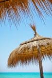 Sunshades op het strand Royalty-vrije Stock Afbeeldingen