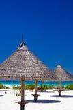 Sunshades op het strand Stock Fotografie