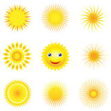 Sunshine. Illustration of nine different suns Stock Photography