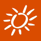 Sunshine. Simplified shape of a white sun Royalty Free Stock Images