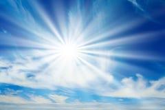 Sunshine. Morning sunshine against a vibrant blue sky Royalty Free Stock Photo