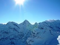 Sunshine in the Alps. Sunshine high up in the Swiss Alps Stock Images