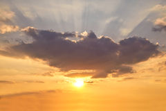 Sunshine background with coloured sky Royalty Free Stock Photography
