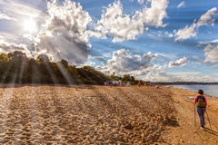 Sunshine beach. Blue sea and sunshine beach in Sopot, Poland Stock Photography