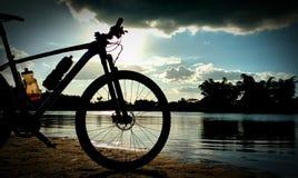 Sunshine and bike stock image