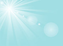 Sunshine blue. Abstract background with white sun in the sky Stock Images