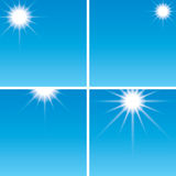 Sunshine in the blue sky - vector set Stock Photos