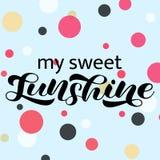 Sunshine brush lettering. Vector illustration for card or banner royalty free stock photo