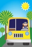 Sunshine Bus Driver Route Royalty Free Stock Photos
