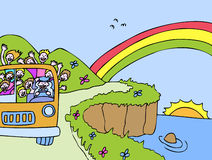 Sunshine Bus Ocean Tour Stock Photo