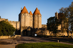 Sunshine on Chateau Comtal in medieval Carcassonne Royalty Free Stock Photo