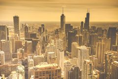Sunshine Chicago Skyline Aerial View Royalty Free Stock Image