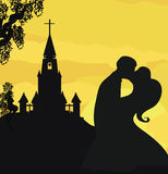 Sunshine church and wedding couple Royalty Free Stock Image