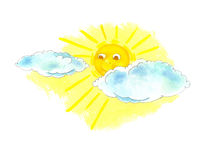 Sunshine through Clouds. Illustration of sunshine coming through the clouds on a white background Stock Images