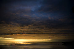 Sunshine and clouds. Beautiful sunset after the rain on Elba Island Stock Photography