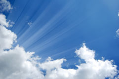 Sunshine from clouds in day. Royalty Free Stock Photography