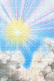 Sunshine and clouds painting Royalty Free Stock Photo