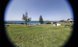 Sunshine Coast – Coastal Park in Mooloolaba. Coast line seen through a 10mm lens, in Mooloolaba, Sunshine Coast, Australia royalty free stock photography