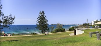Sunshine Coast – Coastal Park in Mooloolaba. Panoramic view over the coast line from a high point of a popular park in Mooloolaba, Sunshine Coast royalty free stock photography
