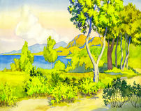 Sunshine Coast. Watercolor landscape. Sunny view of the coast Royalty Free Stock Photography