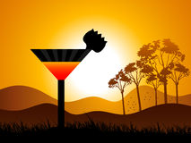 Sunshine with cocktail. In nature Stock Photos