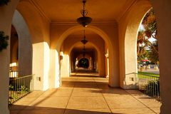 House of Hospitality Corridor, Balboa Park, San Diego. Sunshine into Corridor of House of Hospitality of Balboa Park, famous park in California stock photos