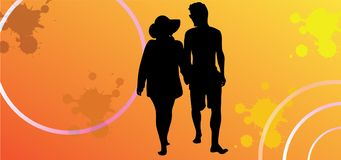 Sunshine couples. In love couples silhouette. Stock Photos