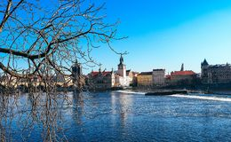Riverside in Prague Royalty Free Stock Images