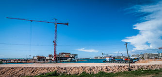 Sunshine day for work.  Construction of new hotel and resort. Stock Image