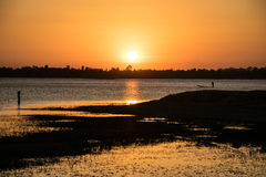 Sunshine in the evening,have fisherman boating inside river, sun. Set background, beautiful lanscape stock images