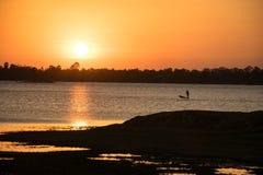 Sunshine in the evening,have fisherman boating inside river, sun. Set background, lanscape background stock images
