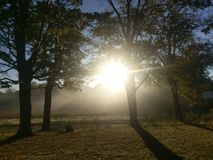 Sunshine and fog. In western Indiana on October 9 2017 Stock Photos