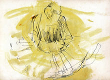 Sunshine girl. Hand drawing picture with positive girl in yellow Stock Image